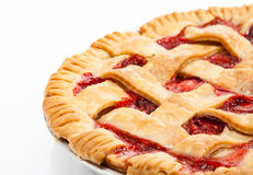 Strawberry Pie. Close up of a strawberry rhubarb pie over white royalty free stock photo