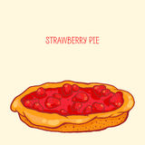 Strawberry pie. Colorful  illustration of tasty strawberry pie Royalty Free Stock Images