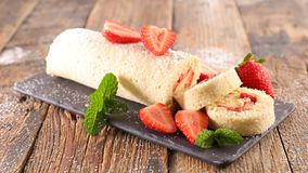 Strawberry pie with cream. On board Stock Images