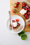 Strawberry pie with cream Stock Image