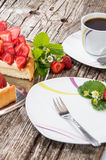Strawberry Pie with a cup of Coffee Royalty Free Stock Photos
