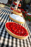 Strawberry pie. Delicious strawberry and cream cake Stock Image