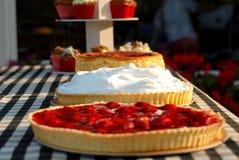Strawberry pie. Delicious strawberry and cream cake Stock Photos