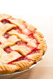 Strawberry Pie. Homemade Strawberry Pie on a cutting board. Background fades to white stock image