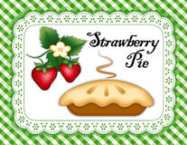 Strawberry Pie, Lace Doily Place Mat, Green Check Royalty Free Stock Photography