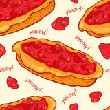 Strawberry pie seamless pattern. Colorful seamless pattern with tasty strawberry pie Stock Image
