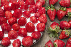 Strawberry pie. Strawberry tart , strawberry pie , strawberry jam, on the table Royalty Free Stock Photography