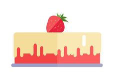 Strawberry Pie Vector Illustration in Flat Design. Stock Images