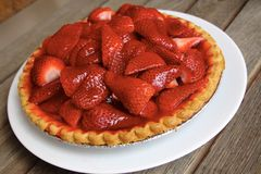 Strawberry Pie On White Plate Royalty Free Stock Image