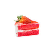 Strawberry piece of cake on white background, sweet dessert Stock Images