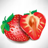 Strawberry piece and full fruit Royalty Free Stock Photo
