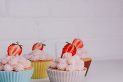 Strawberry Pies on the Table, Perfect Party Individual Fresh Fruit Dessert. royalty free stock images