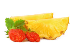 Strawberry and pineapple. Strawberry and sliced pineapple on a white background Stock Images