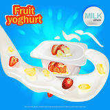 With strawberry and pineapple yogurt ads with a splash of milk and strawberry elements, royalty free illustration