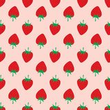 Strawberry on pink background. Seamless Pattern. stock images
