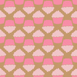 Strawberry pink cream cupcake seamless pattern Stock Photography
