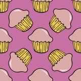 Strawberry pink cream cupcake seamless pattern Royalty Free Stock Image