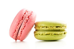 Strawberry and pistachio macaroons. Royalty Free Stock Image