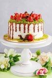 Strawberry and pistachio mousse cake Stock Image