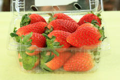 Strawberry in plastic box Royalty Free Stock Photo
