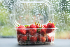 Strawberry in plastic package Royalty Free Stock Photos
