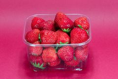 Strawberry in plastic packaging Stock Photos
