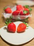 Strawberry. On  plate Royalty Free Stock Images