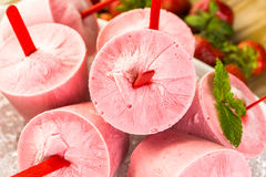 Strawberry Popsicles Stock Photography