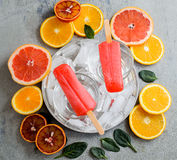 Strawberry Popsicles on a Stick. Top view Royalty Free Stock Photography