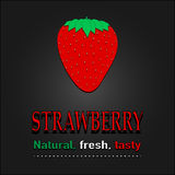 Strawberry poster vector. Natural, fresh, tasty. Stock Photo