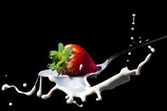 Strawberry splash on milk Stock Photo