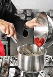 Strawberry preparation Stock Photography