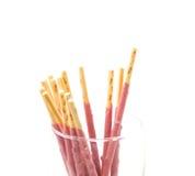 Strawberry pretzel snack sticks Stock Image