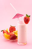 Strawberry protein cocktail and fruits Stock Images