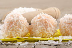 Strawberry pudding balls with coconut flakes Stock Image