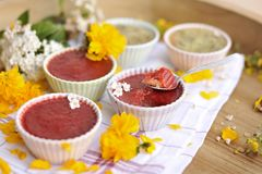 Strawberry pudding, delicious summer berry dessert, copy space royalty free stock photos