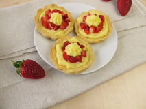 Strawberry pudding tartlets Stock Photo