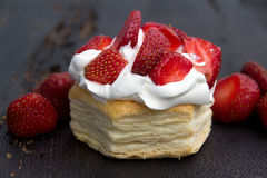 Strawberry puff pastry Royalty Free Stock Images