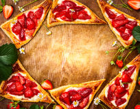 Strawberry Puff Pastry Triangles Royalty Free Stock Photo