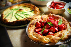 Strawberry puffed pastry pie with mint leaves Stock Photography