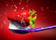 Strawberry on the purple spoon and milk splash. Red background. Stock Photo