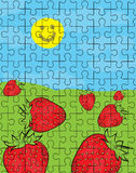 Strawberry puzzle pattern Stock Images