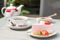 Strawberry quark cake. Lovely fresh strawberry quark cake Royalty Free Stock Images