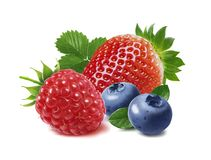 Free Strawberry, Raspberry And Blueberry Isolated On White Background Royalty Free Stock Image - 99988486