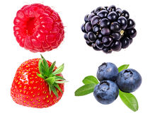 Strawberry,raspberry,blueberries, blueberries, and blackberry is. Olated on white background Royalty Free Stock Photo