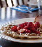 Strawberry and raspberry breakfast waffles Royalty Free Stock Photography