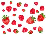 Strawberry and Raspberry Pattern. Various fresh berries isolated. On white background, close up. Flying Strawberry, Mint, Raspberry and Blueberry Stock Photos