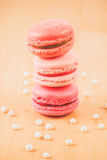 Strawberry, raspberry and rhubarb macaroons Stock Photos