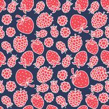Strawberry and raspberry seamless pattern. Hand drawn fresh berry, fruit. Vector sketch background. Color doodle wallpaper. Print. Strawberry and raspberry royalty free illustration