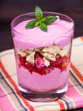 Strawberry and raspberry smoothie with cream cheese Royalty Free Stock Photos
